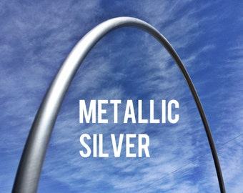 """Metallic Silver 3/4"""" POLYPRO Dance & Exercise Hula Hoop COLLAPSIBLE push button or minis -  shimmery metal"""