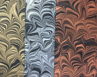 """19"""" x 25"""" marbled paper - Disrupted Vertical Wave - metallic on black paper"""