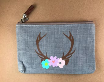 Cosmetic bag, pencil case, trinket pouch, antlers with flowers