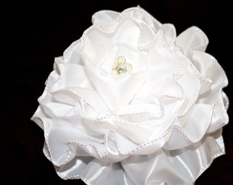 Fabric Flower - White Satin Ribbon Peony - Bridal - Embellished with Pearl and Crystal Flower