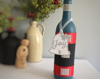 Wine Bottle Decor / Christmas Decor / Blue Christmas / Joy / Hand Painted Bottle / Winter Decor / Holiday Party / Holiday Shelf Sitter