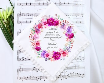 Wedding Handkerchief, Wedding Hankerchief, Mother of the Bride Handkerchief, Mother of the Bride Gift, Mother of Groom Gift, Gift for Mom #1