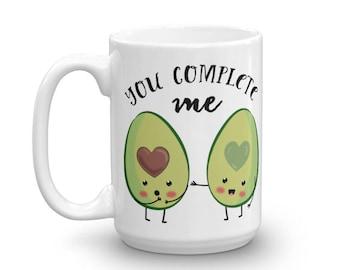 You Complete Me Avocado Coffee Mug / Avocado Lover Gift / Funny Avocado Coffee Mug / Avocado Gift / Avocado Vegan Gift / Avocado Mug