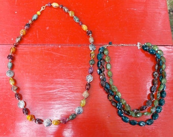Large Beaded GYPSY Necklaces   Earth  Hues and Colors  Single strand and Three Strand  Greens  Browns