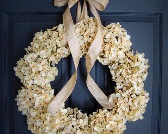 Wedding Wreath | Cream Hydrangea Wreath | Wedding Flower Wreath | Wreaths | Wedding Hydrangeas | Wreaths for Wedding | Wedding Decor