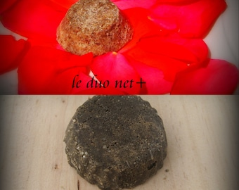 2 small natural solid shampoo, duo net +, ASSAINISSANT and HYDRATANT castor