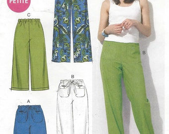 Plus Size Womens Pants and Shorts Drawstring Waist McCalls Sewing Pattern M6568 Size 16 18 20 22 24 26 Hip 40 to 50 UnCut