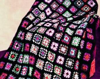 CROCHET PATERN - gRANNY sQAURES Blanket - PDF Instant Download - Afghan Cluster Blanket - Sqaures - Crochet Throw - Vintage Digital Pattern