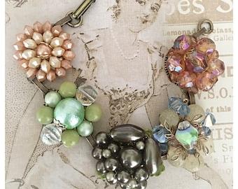 Vintage Cluster Earring Repurposed Brass Bracelet - One of a Kind - Green, Peach, Salmon, Brown - JaelDesigns