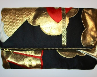 Red and Gold Fan Two-way Fold Over Obi Silk Clutch Purse