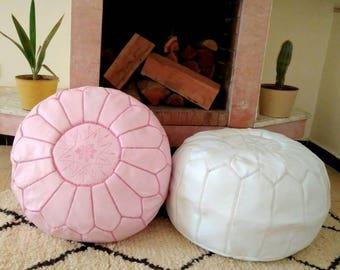 Set of 2 Premium Handmade Moroccan Leather Pouf Ottoman Genuine leather Moroccan Pouf  pouffe PC30