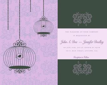 Wedding Invitation - Birdcages- Purple