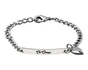Chi Omega Bracelet with Heart Charm