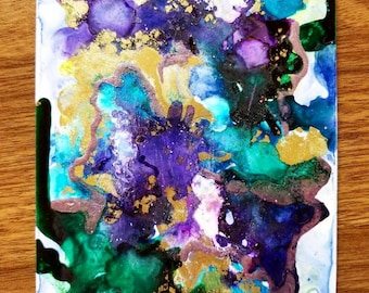 Alcohol Ink - purple, green and gold