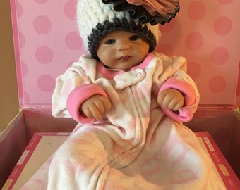 Baby girl winter hat, newborn girl hat, white baby girl hat with pink and grey flower, fuzzy and warm baby girl hat, baby girl photo prop
