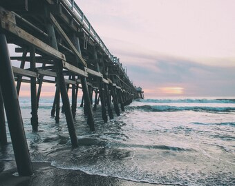 San Clemente Pier, Desaturated, Sunset, Ocean, Beach, Waves, Tide, Orange County, Southern California