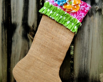 Funky Shabby Chic Burlap Pink Christmas Stocking with Green, Turquoise, and Yellow Trimmings.