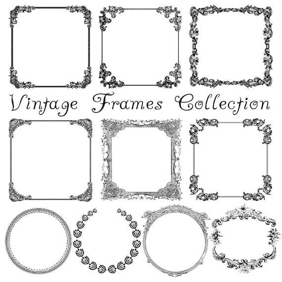 ausgefallene digitale bilderrahmen vintage clipart satz von. Black Bedroom Furniture Sets. Home Design Ideas