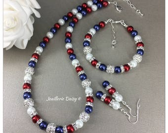 Red White and Blue Jewelry Set Patriotic Jewelry American Flag Jewelry Pearl Jewelry Patriotic Gift July 4th USA Independence Day