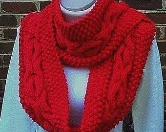 Knitting Pattern Circle Scarf Hugs Kisses Pattern Cable Cowl diy pdf INSTANT DOWNLOAD