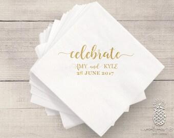 Wedding Napkins | Personalized Napkin | Monogram Napkins | Bridal Napkins | Custom Foil Napkins | Metallic Foil Napkins