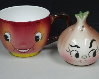 Anthropomorphic Cup and Salt Shaker