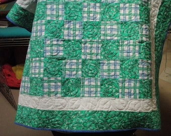 Periwinkle Blue and Green Baby Quilt Handmade Quiltsy Idaho