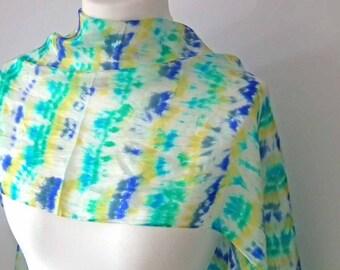 Shibori Dyed Scarf, Pure Silk Long Scarf, Hand Dyed, Silk Pongee, Silk Habotai, Turquoise, Yellow, Blue, OOAK, UK Seller