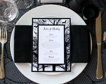 Halloween Bats Trees Spooky Creepy Gothic Dark Black White Scary Fall Printable Wedding Party Menu - Script Font