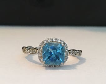 Blue Topaz and Sterling Silver Ring (size 7)