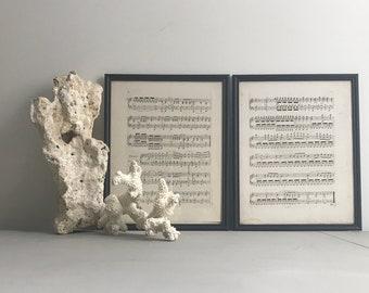 Pair of 1800's French Opera Music Sheet Framed