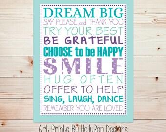 Inspirational girl quotes Purple aqua wall art Quotes for girls Dream Big Sing Laugh Dance Baby girl art Tween girl art Girls room art #1584