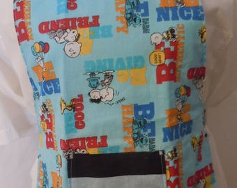 Snoopy, Charlie Brown, Blue, Navy, Children's Reversible Apron