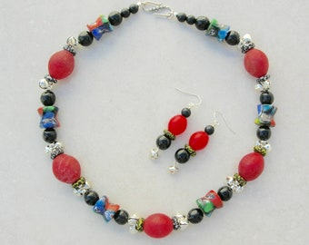"Red & Black Cultural Mix, 6 Millefiori Glass Face Beads and Bells from India, Old African ""Egg"" Beads, Silk Road Necklace Set, SandraDesigns"