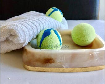 Green Apple Bath Bomb, Bath Fizzy, Bath soak, lush inspired, natural homemade, spa, relax, essential oils