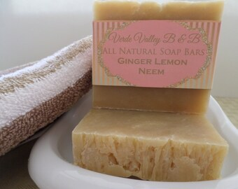 Ginger Lemon Neem Soap, Ginger Lemon Neem Bar Soap, Ginger Lemon Neem Soap Bar, Neem Soap, Handmade Soap, Natural Soap, Vegan Soap