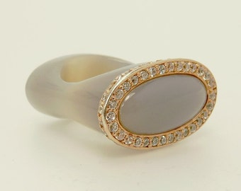 Chalcedony Rose Gold CZ Square Ring