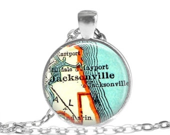 Jacksonville, Florida pendant necklace, Florida Jewelry, Florida map necklace by LocationInspirations