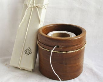 Vintage Wooden Holder Tabletop String Twine Small Rope Utility Storage Home and Living Vintage Storage Bowl String Holder Vintage Kitchen