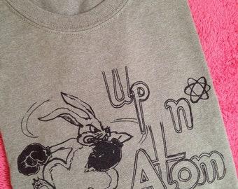 Men's large green heather silkscreened Up n' Atom t-shirt, cotton poly blend