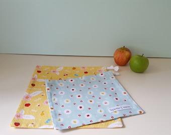 Birds & Fruit - Drawstring Bag Set, Fresh Produce Bags, Project Bag, Toy Bag, Reusable, Ecofriendly, Handmade