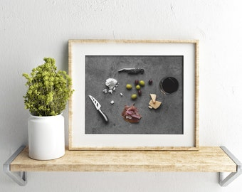 charcuterie // food photography print // kitchen decor // kitchen wall art  // dining room wall art // rustic wall art // cheese board