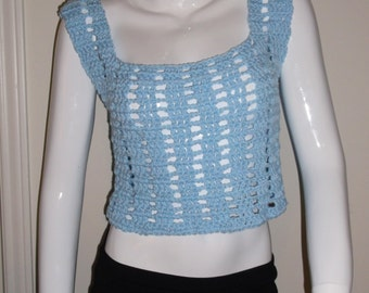Hand crochet cropped top, crochet tank top, FESTIVAL cropped top, crochet top, Light Blue crochet top, sleeveless top, sexy cropped top