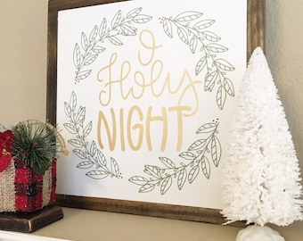 13x13 | O Holy Night gold and green wreath | Christmas Wood Sign- Framed