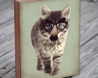 Cat with Glasses - Cat in Disguise - Wood Block Art Print