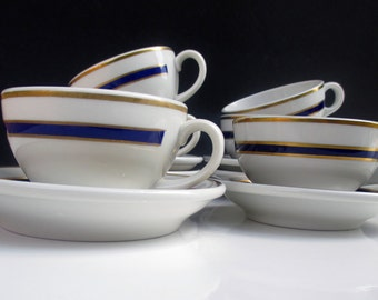 Shenango Restaurant Ware - Cobalt Blue and Gold on White - Cups and Saucers - Set of 3 (2 Sets Available)