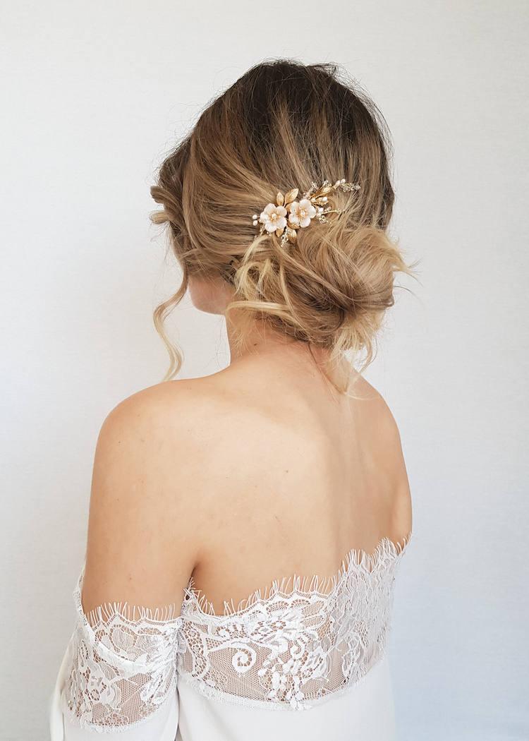 blushing gold bridal comb with blush flowers blush bridal