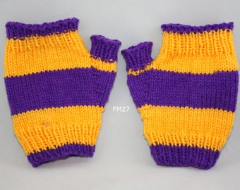 Purple/gold striped fingerless mitts; purple/gold fingerless mitts; fingerless mitts; gold purple fingerless mitts; team colors