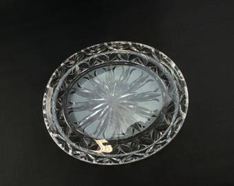 Stuart Luxton Cut Crystal Glass Platter Tray Plate Dish Bowl Vintage English 1950s Mid-Century Modern
