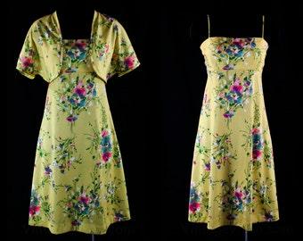 Size 10 Lolita 70s Sun Dress & Jacket - Empire Bust - Strappy Bodice - Flirty 1970s Summer Frock - Yellow Floral - Bolero - Bust 36.5 -43771